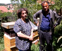 Father and daughter in their apiary, Gjakova, Kosova. Her husband and brother were both brutally murdered in their own homes during the 1999 conflict.  Severely depressed, beekeeping is the only activity which brings her some relief.